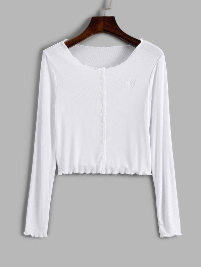 Ribbed Mock Button Butterfly Embroidered Crop T Shirt - White S