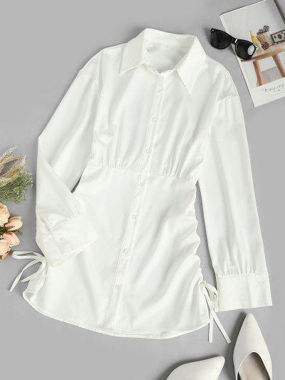 Geschnürte Seite Langarm Hemd Kleid - Kristall-creme S