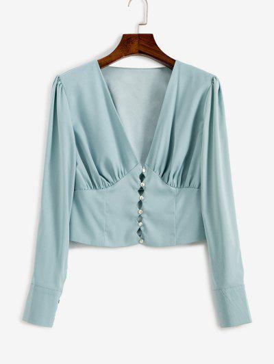 V Neck Button Loop Ruched Blouse - Baby Blue L