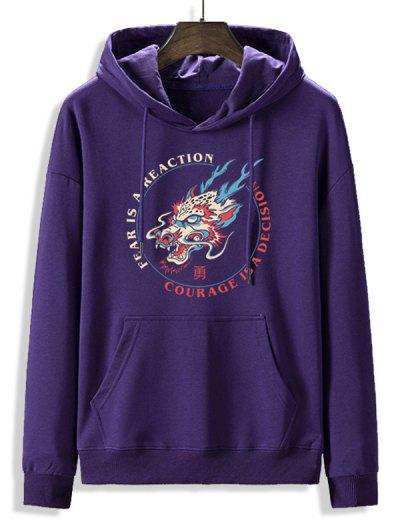 Fleece Lined Letter Dragon Oriental Hoodie - Purple Iris L