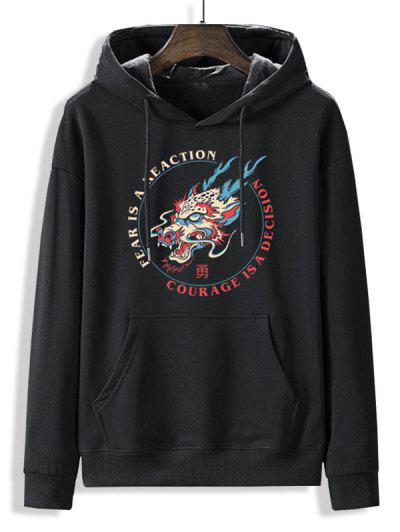 Fleece Lined Letter Dragon Oriental Hoodie - Black Xl