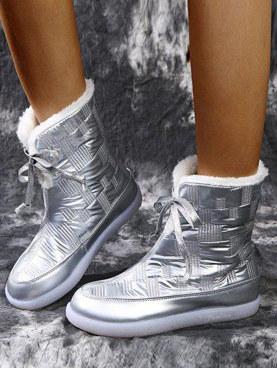 Padded Lace Up Fleece Boots - Silver Eu 37