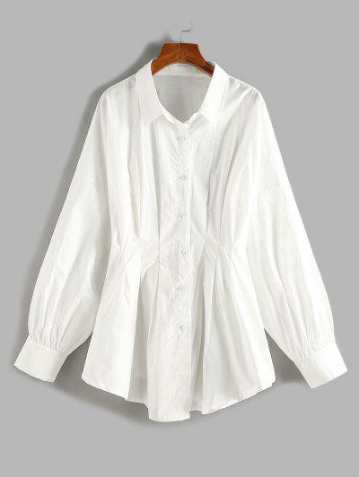 Plus Size Pleated Waist Drop Shoulder Longline Shirt - White 1xl