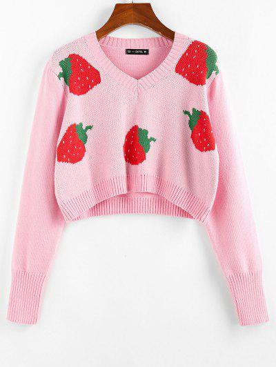 ZAFUL Strawberry Pattern Crop Sweater - Light Pink S