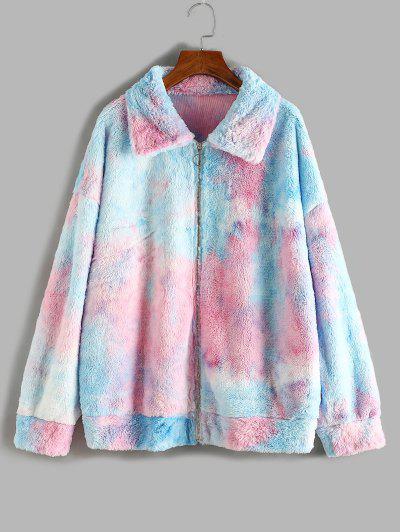 ZAFUL Plus Size Fluffy Tie Dye Drop Shoulder Coat - Light Blue 5xl