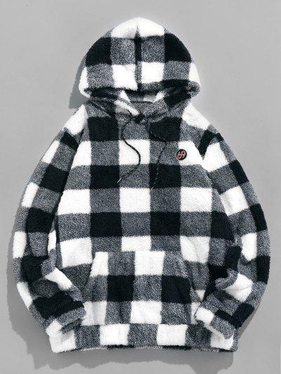 Plaid Print Sherpa Fleece Hoodie