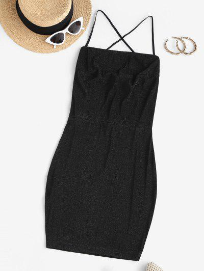 Glitter Criss Cross Back Slinky Dress - Black S