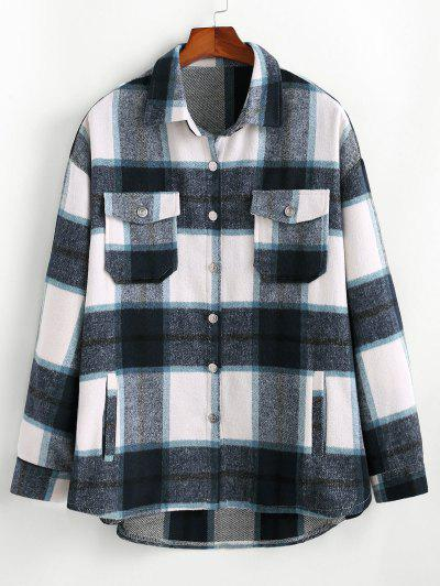 Plaid Pattern Flap Pocket Shirt Jacket - Blue L