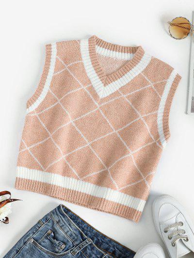 Rhombus V Neck Colorblock Sweater Vest - Light Coffee S