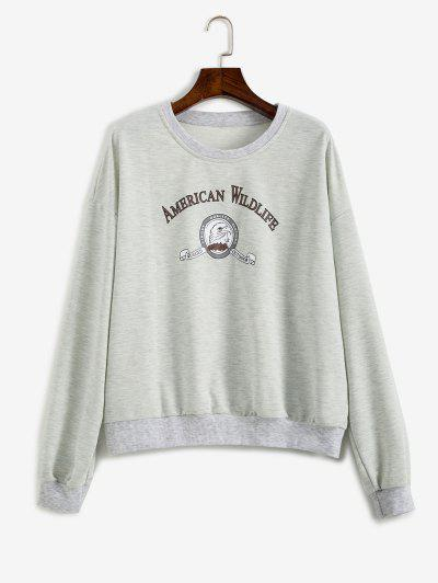 Slogan Eagle Drop Shoulder Oversized Sweatshirt - Gray L
