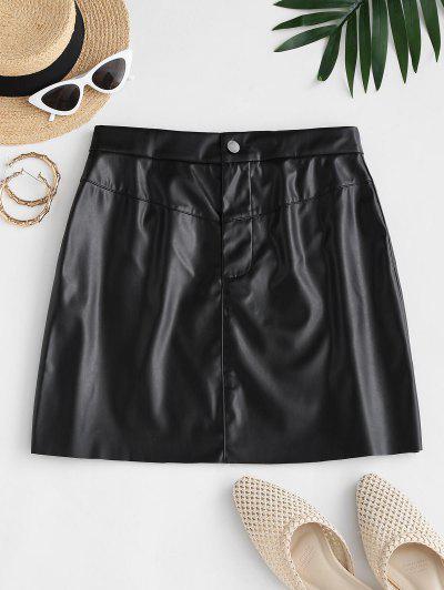 Faux Leather Raw Hem Mini Skirt - Black S