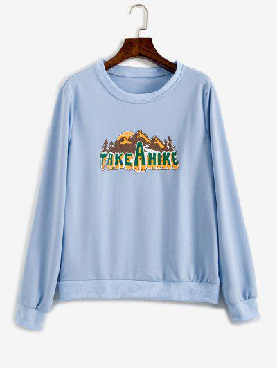 Take A Hike Graphic Pullover Sweatshirt - Light Blue S