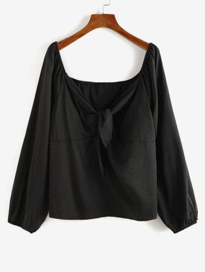 Plus Size Tied Raglan Sleeve Plunging Blouse - Black 2xl