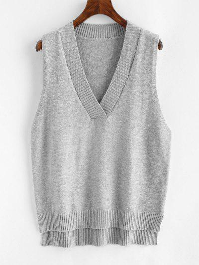 V Neck Slit High Low Sweater Vest - Gray
