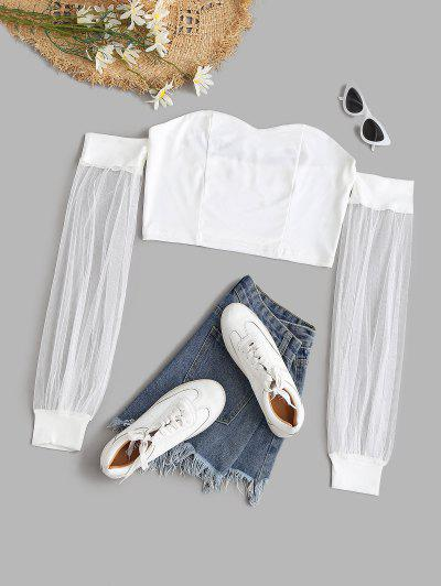 Mesh Sleeve Off Shoulder Crop Top - White L