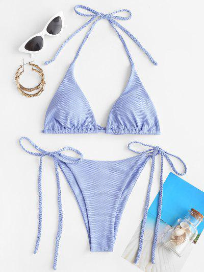 ZAFUL Geflochtene Strukturierte Krawatte Seite Bikini Badebekleidung - Hellblau L