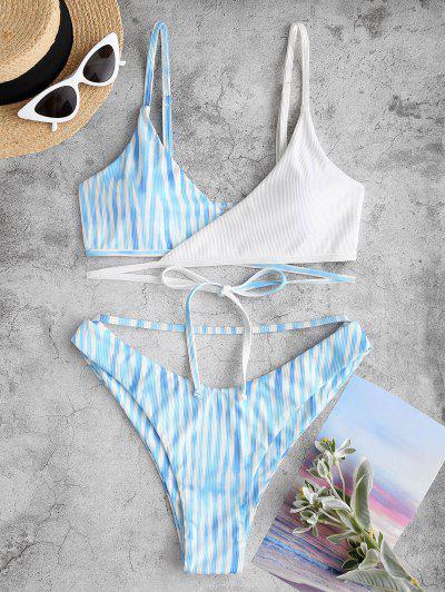 ZAFUL Bikini Envuelto De Canalé De Teñido De Corbata - Azul Claro M
