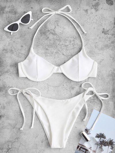 ZAFUL Strukturierte Krawatte Bügel Bikini Badebekleidung Mit Seitlichem Bügel - Weiß L