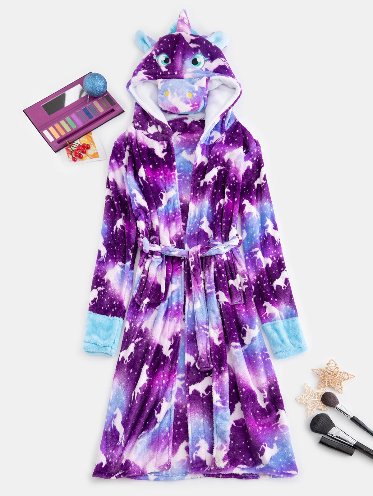 Plush Unicorn Pocket Belted Costume Pajama Robe