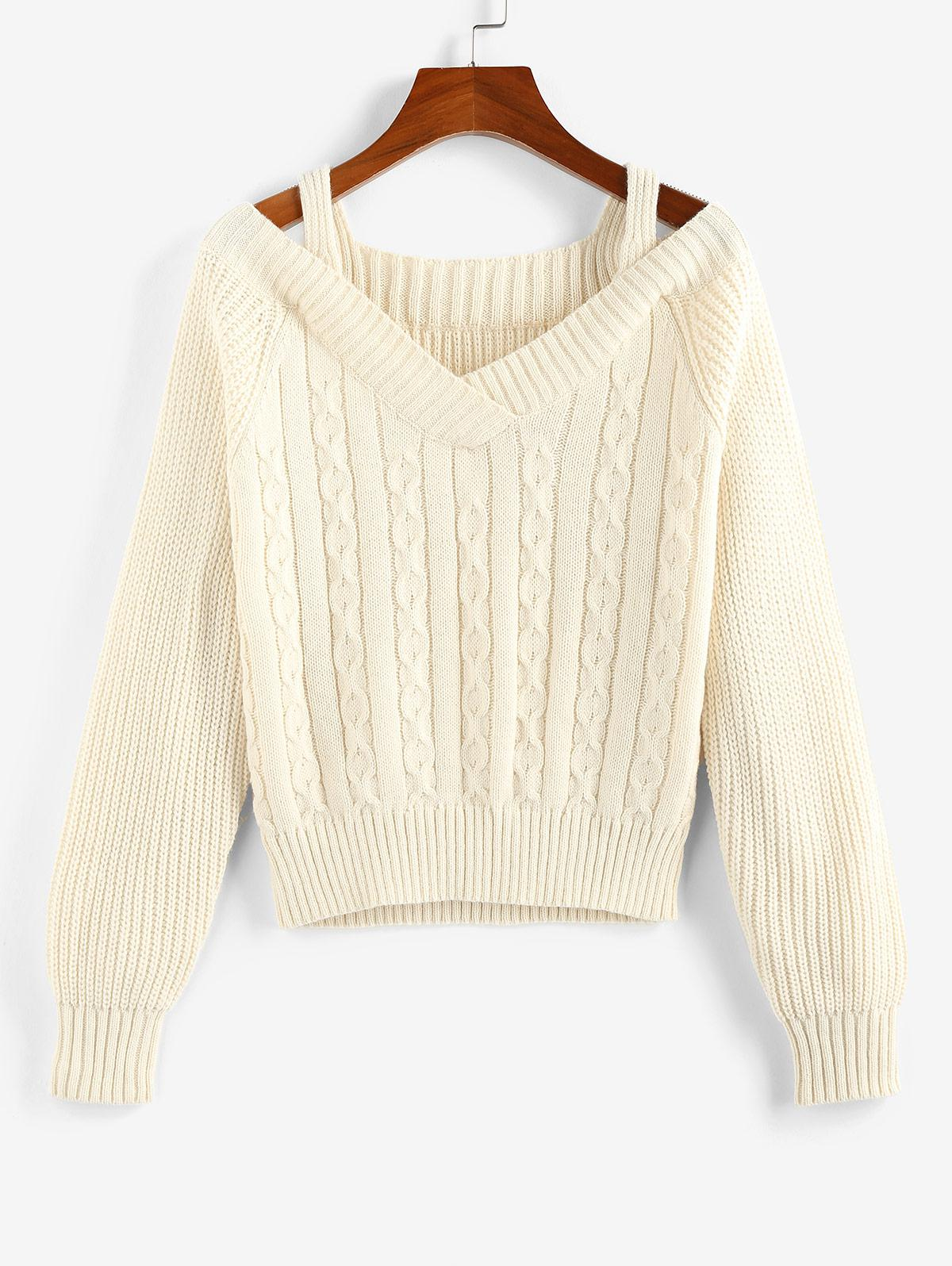 Long Sleeve Cutout Front Contrast Sweater