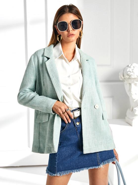 hot ZAFUL Flap Pockets Lapel Tweed Blazer - PALE BLUE LILY L