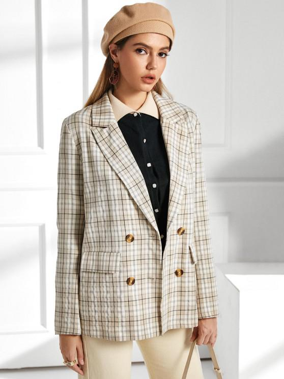 latest ZAFUL Flap Pockets Checked Blazer - APRICOT M