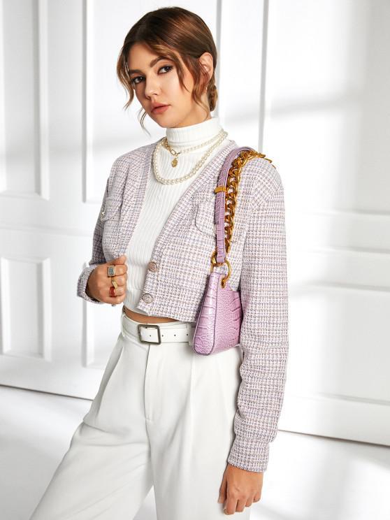 outfits Two Button Flap Detail Tweed Blazer - WHITE S