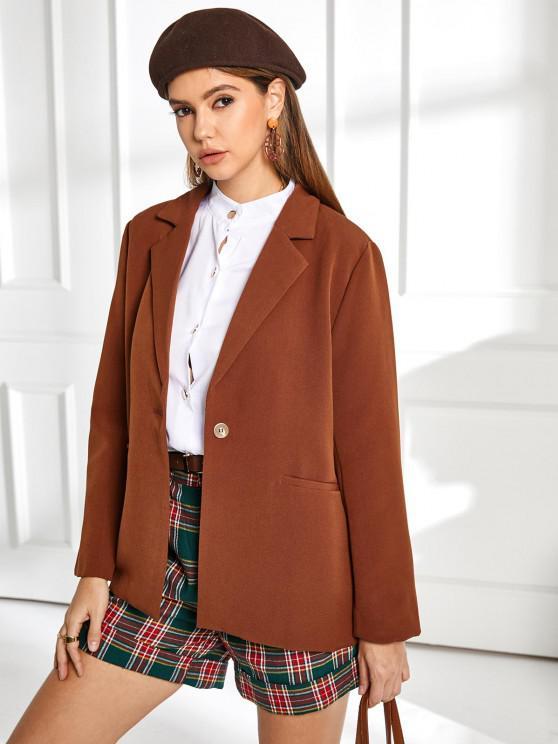 women's ZAFUL One Button Belted Solid Blazer - CHESTNUT XL