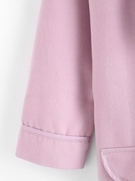 Shawl Collar Open Flap Detail Cuffed Sleeve Tunic Coat - Pink Xl | ZAFUL