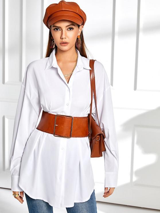 women Drop Shoulder Pintuck-waist Shirt Dress - WHITE M