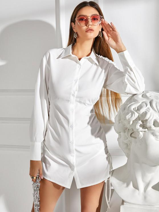 new Cinched Tie Button Up Shirt Dress - WHITE L