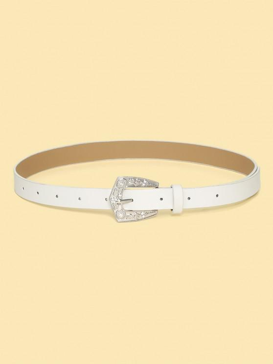 new Retro Rhinestone Floral Buckle Belt - WHITE