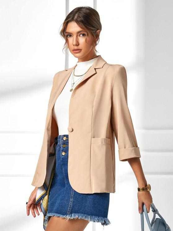 outfit Pocket Cuffed Sleeve One Button Blazer - LIGHT COFFEE S