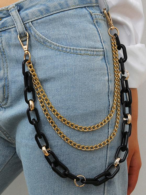 Punk Colored Multilayered Trousers Chain - أسود