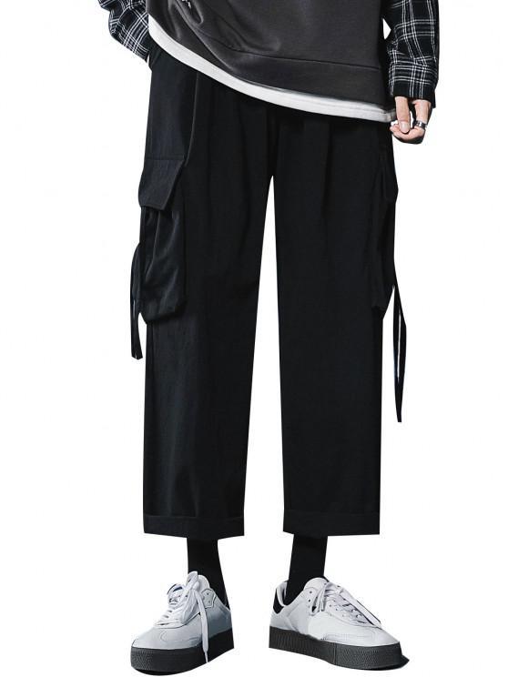 Multi Pockets Straight Casual Pants - أسود XXL