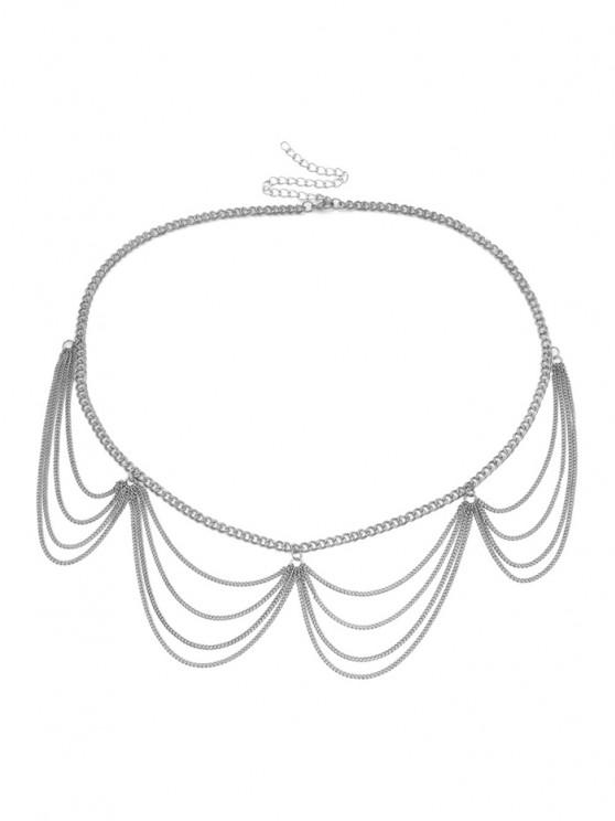hot Multilayered Wavy Waist Chain - SILVER