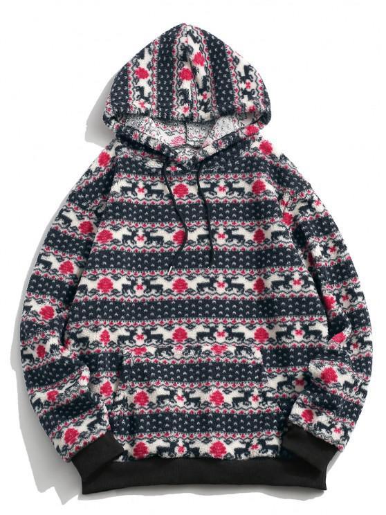 trendy Christmas Tree Elk Pattern Teddy Hoodie - MULTI S