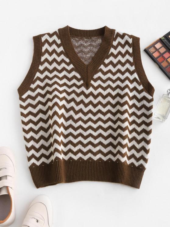 latest V Neck Zig Zag Graphic Sweater Vest - DEEP COFFEE ONE SIZE