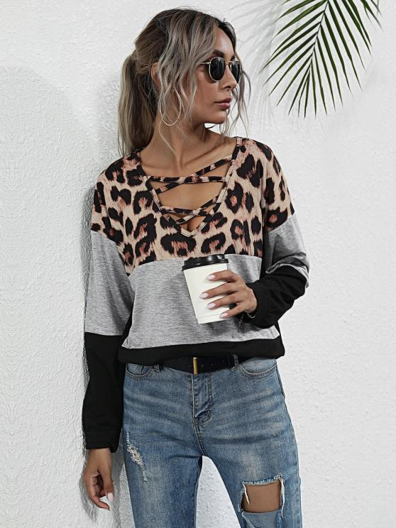 outfits Lattice Leopard Panel Colorblock Top - BLACK S
