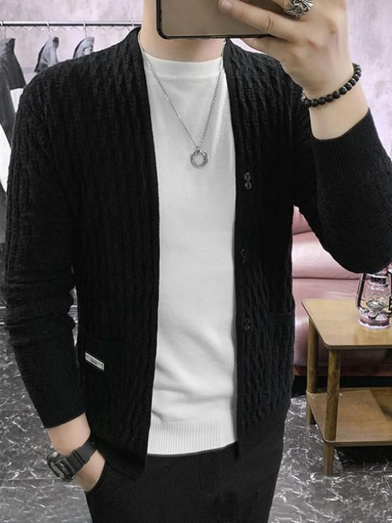 Braid Design Button Up Solid Color Cardigan - أسود XS