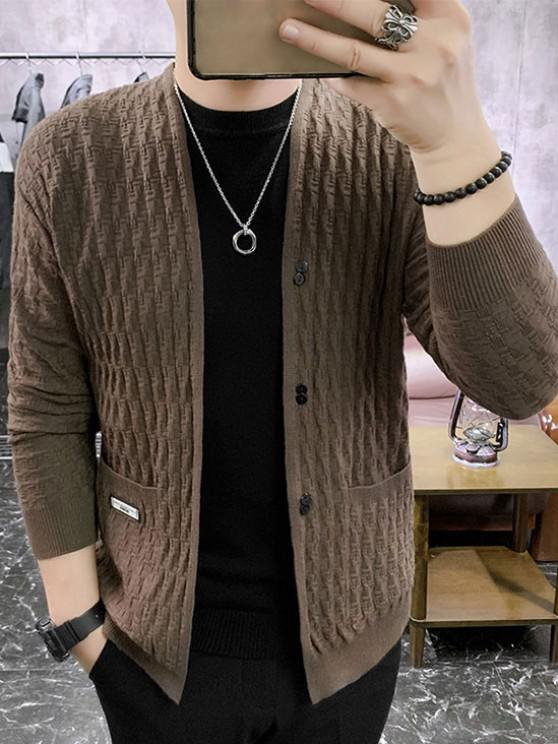 fancy Braid Design Button Up Solid Color Cardigan - BROWN M