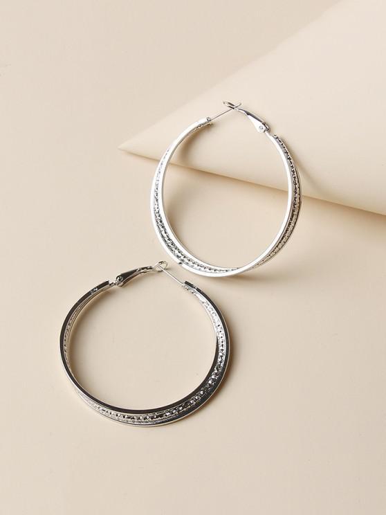 women Engraved Layers Hoop Earrings - SILVER