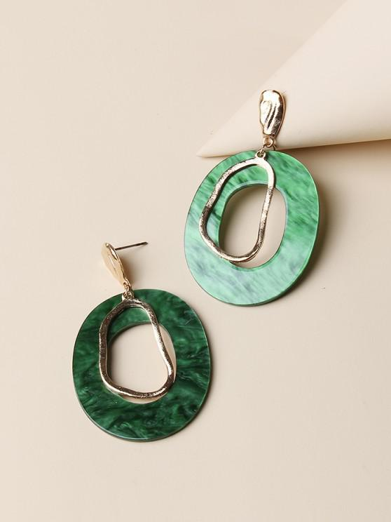 ladies Hollow Oval Stud Drop Earrings - GOLDEN