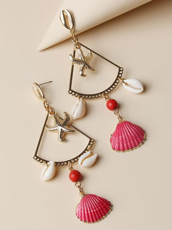 Starfish Cowrie Shell Dangle Earrings - ذهبي
