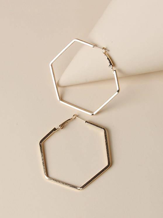 womens Minimalist Hollow Hexagon Hoop Earrings - GOLDEN