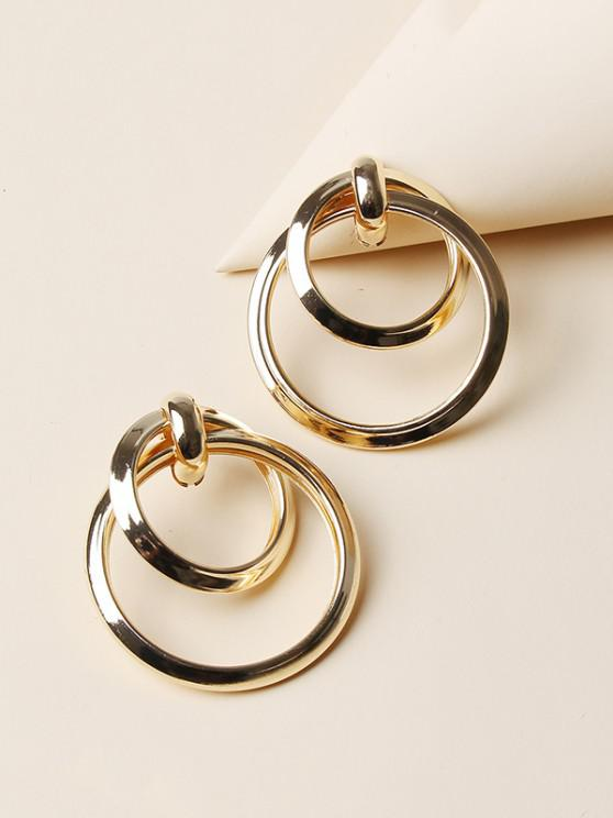 women Hollow Double Circle Earrings - GOLDEN
