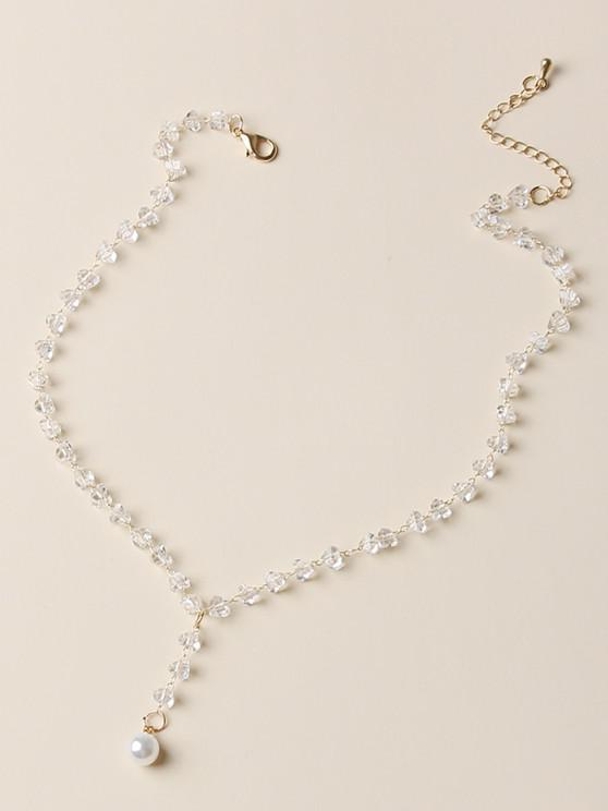 ladies Faux Crystal Pearl Pendant Necklace - WHITE