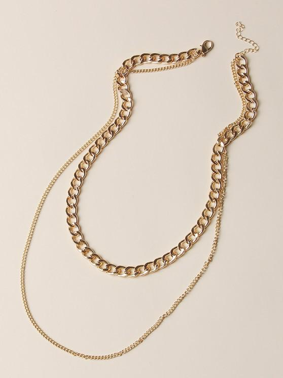 lady Boyish Two Layered Chain Necklace - GOLDEN