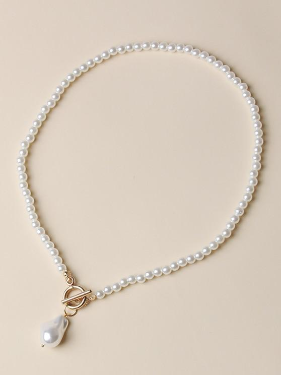 best Faux Pearl Beaded Lariat Necklace - GOLDEN
