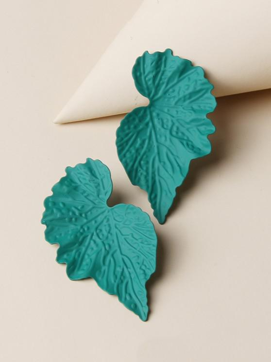 fancy Textured Leaf Shape Stud Earrings - MEDIUM AQUAMARINE